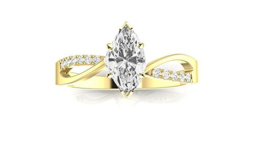 14K Yellow Gold 0.73 CTW Elegant Twisting Split Shank Diamond Engagement Ring w/ 0.65 Ct Marquise Cut I Color SI1 Clarity Center -