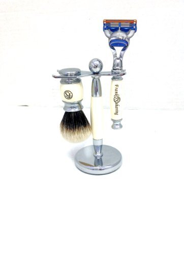FS 3 Piece Fusion Razor and Finest Badger Hair Shaving Brush, Ivory Color and Stand