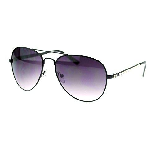 Diva Luxury Bling Rhinestone Iced Out Metal Rim Aviator Sunglasses - Gradient Aviators Black