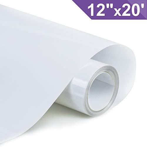 ARHIKY HTV 12 x 20ft Roll - Iron On Heat Transfer Vinyl(White)