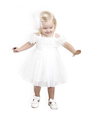 CIELARKO Little Girl Dress Strapless Baby Party Dresses 12 Months-5 Years (White, 3-4 Years)