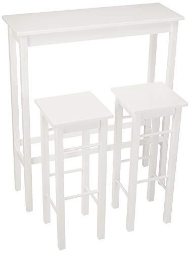AmazonBasics Breakfast Bar Bistro Table - 3-Piece Set,  White (White Sets Bistro)