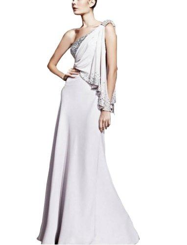 Weiß Abendkleid GEORGE bodenlangen Mantel BRIDE mit einer Schulter Spalte Perlen Chiffon Applikationen aaPwq0
