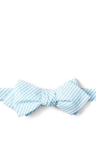 Sky Blue Kensington Seersucker Sky Blue Seersucker Diamond Tip Bow Tie