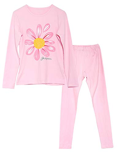Jashe Girls Flower Cotton Fall/Winter Pajamas Long Sleeves Thermal Underwear Set Size 6-14
