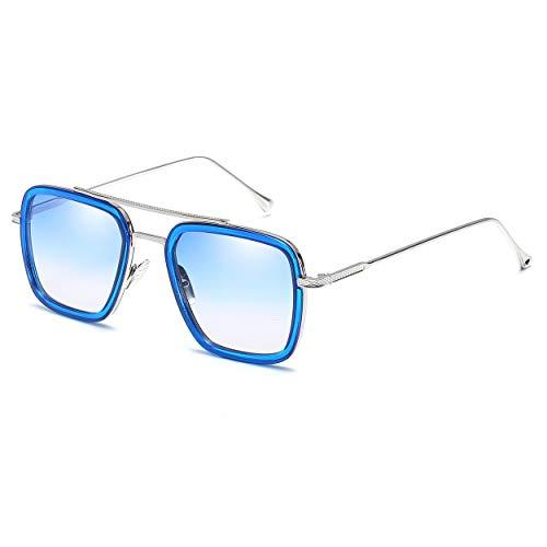 Armear Square Aviator Sunglasses Women Men Metal Frame Classic Retro Sunglasses Blue lens, 56mm