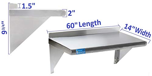 14'' X 60'' Stainless Steel Wall Shelf | NSF Certified | Appliance & Equipment Metal Shelving | Kitchen, Restaurant, Garage, Laundry, Utility Room by AmGood (Image #2)
