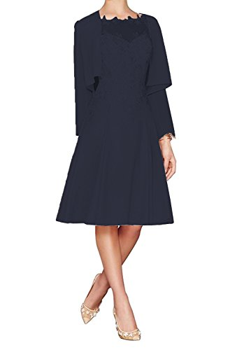 Fitty Lell Women's Chiffon Mother of The Bride Dress Tea Length with Jacket Formal Wedding Gowns(US10,Navy (A-line Tea Length Gown)