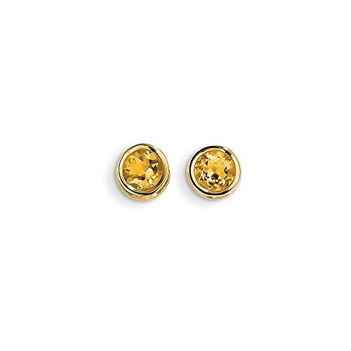 Perfect Jewelry Gift 14k 5mm Bezel Citrine Stud Earrings