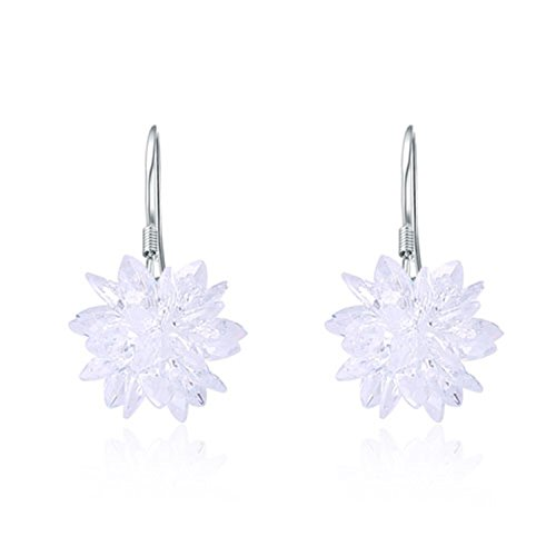Earings Women Fashion Earring Stone white1 Ice Flower Sterling Silver Ladies`Drop Earrings Jewelry - Outlet Stores Atlantic City In