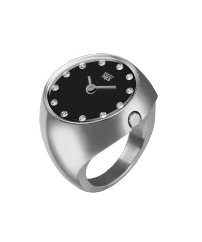 Davis 2010L - Womens Finger Ring Watch Domed Sapphire Glass Black Dial with Swarovski Crystal Markers Size 58 by Davis