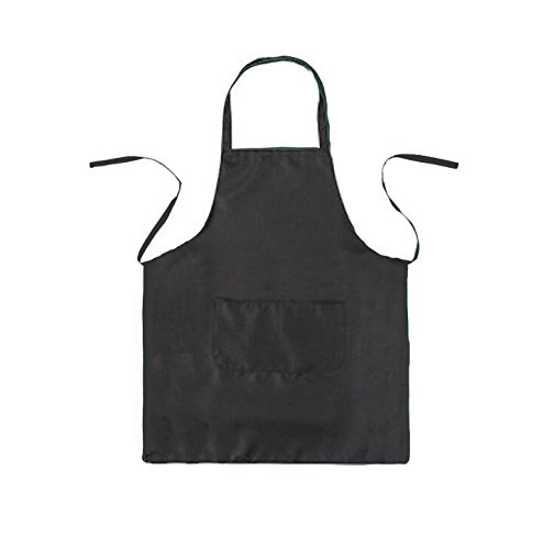 LOYHUANG Total 6PCS Plain Color Bib Apron Adult Unisex 2 Pocket Chef Cooking Baking Kitchen Restaurant Crafting Black by LOYHUANG (Image #1)
