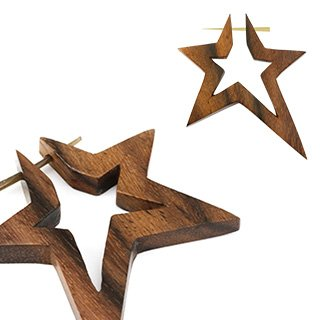 Pair of Organic Hand Carved Sono Wood Star Stirrup Hanger Earring The tapered pin that goes through the piercing is between 16 and 14g ()