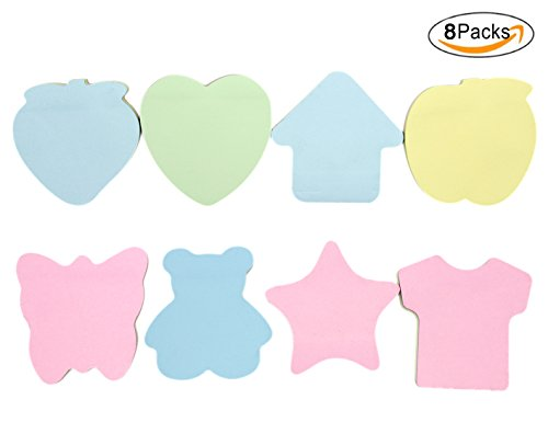 Cute Cartoon Shape Sticky Notes Candy Color Mini Memo Creative Bookmark Index Tabs Flags(100 Sheets/Pad,8 Pad/Pack)