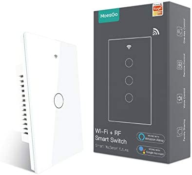MoesGo 2nd Generation WiFi RF433 Smart Touch Wall Single Fire Smart Switch,No Neutral Wire Needed Compatible with Smart Life/Tuya App, Works with Alexa and Google Home Single Pole 110V White 1 Gang