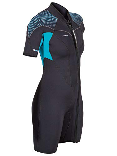 Henderson Thermoprene PRO 3mm Womens Front Zip Wetsuit 8 Black/Aqua ()