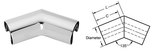 Polished Stainless 2'' Diameter 135 Degree Horizontal Corner for 1/2'' or 5/8'' Glass Cap Railing
