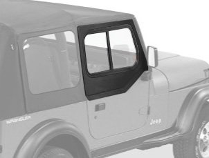 (Bestop 51785-15 Black Denim Upper Door Slider Set (Squared Door) for 1988-1995 Wrangler YJ - Front)