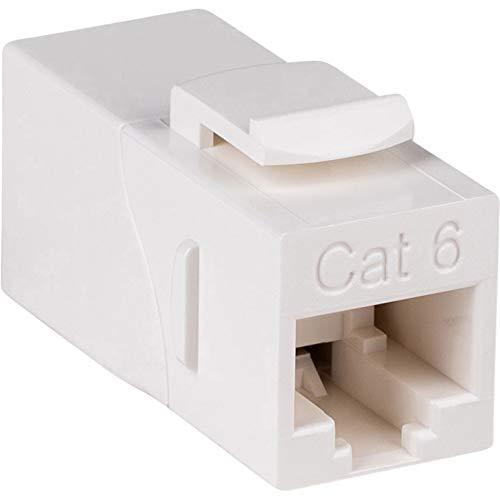 Parts Express Cat 6 Right Angle Inline White Coupler with Keystone Latch
