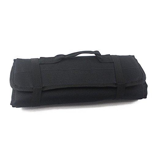 OULII Multi-Purpose 22-Pocket Reel Rolling Tool Bag Plier Screwdriver Spanner Carry Case Pouch Bag (Black) (Case Screwdrivers Pliers)