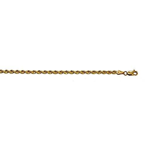 14kt Yellow Gold Mens Bracelet (14KT Yellow Gold 3mm Rope Diamond-Cut Solid Chain Bracelet -)