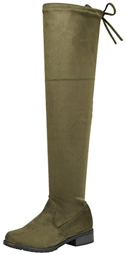 Forever Link Womens Over The Knee Thigh High Flat Boot Olive ItFw8s