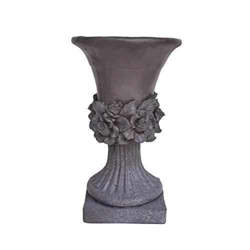 Great Deal Furniture Michaelia Chalice Garden Urn Planter, Roman, Botanical, Antique Gray Lightweight Concrete
