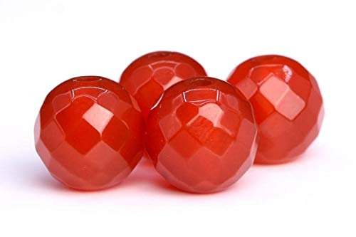 24 Pcs - 8MM Carnelian Beads Grade AAA Genuine Natural Micro Faceted Round Gemstone Loose Beads