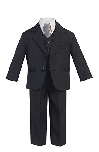 5 Piece Boy's Dress Suit with Shirt, Vest, and Tie (6, Dark Gray)