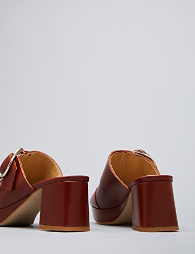 FIND Zuecos con Hebillas para Mujer Marrón (Chocolate)