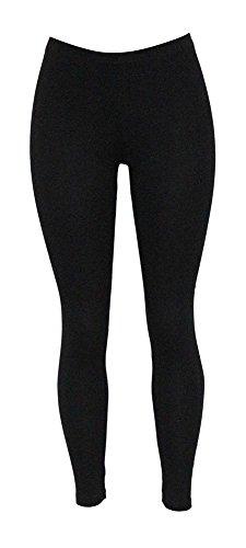 Women's Classic Solid Cotton Long Jersey Leggings Pant Stretch Tights Black XL Cotton Blend Gym Pant