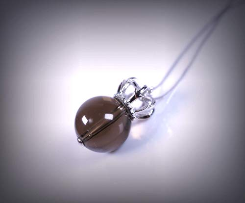 Large Natural Smoky Quartz Necklace Sterling Silver Royal Crown Smoky Quartz Pendant Luxury Crystal Healing For Women -