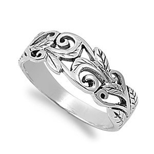 Acacia Leaves Filigree Ring Sterling Silver 925 (Sizes 3-15)