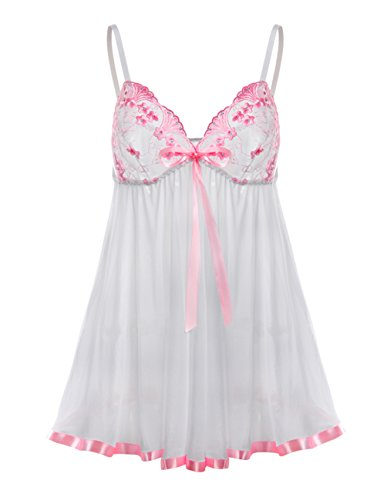 Buauty Sleepwear Nighties Chemise White Lace Lingerie for Women (Baby Doll Panty Lingerie)