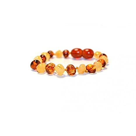 The Art of Cure Baltic Amber Teething 5.5 inch Bracelet - FTIR Lab Tested Authentic Amber (hazel)