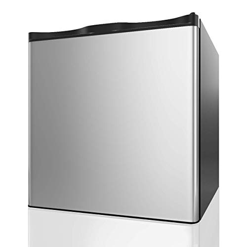 (COSTWAY Compact Single Door Upright Freezer - Mini Size with Reversible Stainless Steel Door - 1.1 CU FT Capacity - Adjustable Removable Shelves)