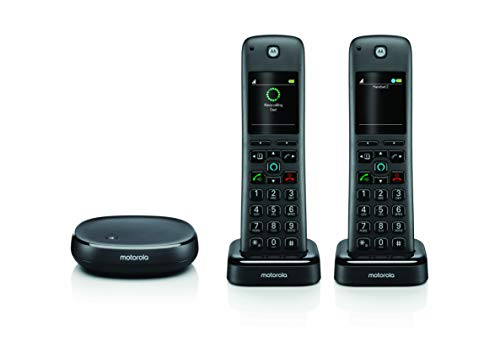 Motorola AXH02 Cordless Phone with Alexa Built-in and Call Block for Landline Calls, Alexa Calling and Skype Calls and Voice Control of All Alexa Enabled Smart Home Accessories - 2 Cordless Handsets