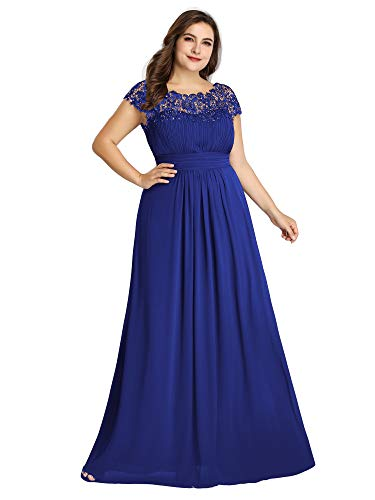 Ever-Pretty Womens A-Line Lace Plus Size Mother of The Groom Dresses for Women Sapphire Blue US 18