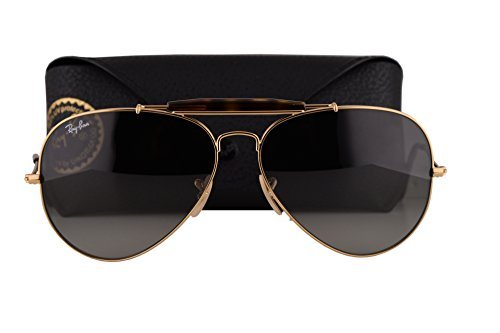 Ray Ban RB3029 Outdoorsman II Sunglasses Gold w/Light Grey Gradient Dark Grey Lens 18171 RB - Ban Ray Sunglasses Closeout