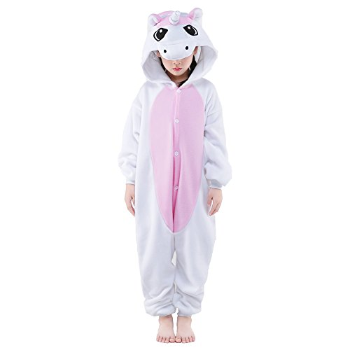 [Newcosplay Unisex Children Unicorn Pyjamas Halloween Costume (10-height 55-58
