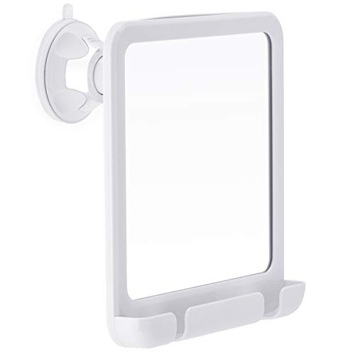 2019 Fogless Shower Mirror for Fog Free Shaving with Razor Holder, Sticky Suction-Cup and Swivel, Shatterproof and Portable, 8-Inch x 7-Inch White