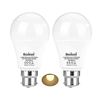 Sensor Lights Bulb Dusk to Dawn LED Light Bulbs Smart Lighting Lamp 9W B22 Base Automatic On/Off, Indoor/Outdoor Yard Porch Patio Garage Garden (Warm White, 2 Pack)
