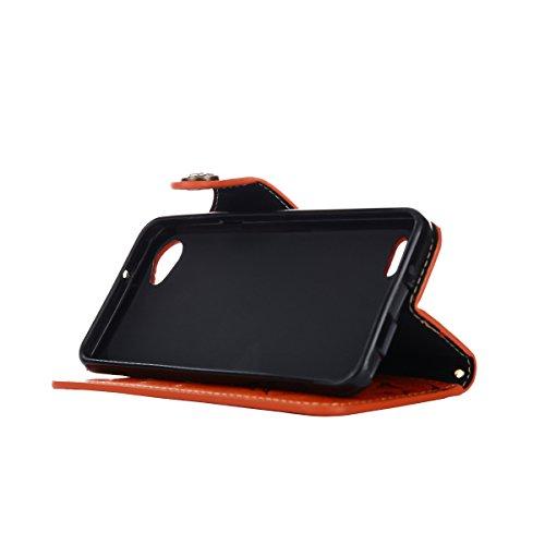 MEIRISHUN Leather Wallet Case Cover Carcasa Funda con Ranura de Tarjeta Cierre Magnético y función de soporte para LG Q6 - Negro naranja