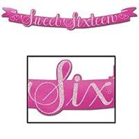 Beistle 55745 Glittered Sweet Sixteen Streamer, 5-1 /2 pulgadas por 3 pies y 6 pulgadas