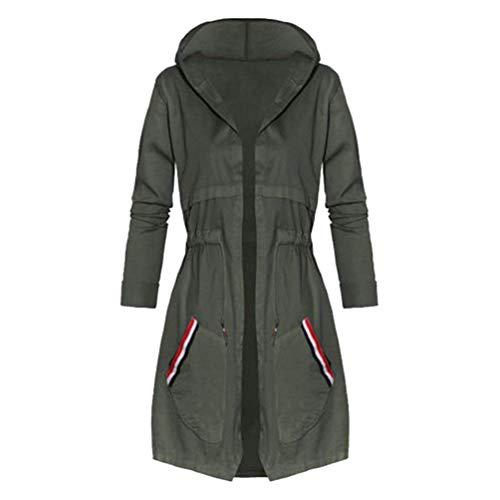 Huixin Femme Trench avec  Capuche lgant Automne Hiver Young Styles Parka Chaud Bouffant Coupe Vent Manteau Coat Jacket Longues Loisir Armygreen