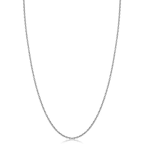 Classic 14k Gold Rope Chain - Kooljewelry Solid 14k White Gold Rope Chain Necklace (1 mm, 24 inch)