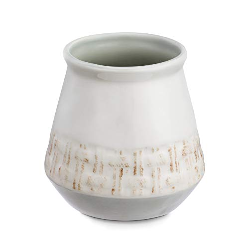 DEMDACO Home Is Where Memories Are Made Woven White 4 x 4 Glossy Ceramic Stoneware Kitchen Utensil Crock