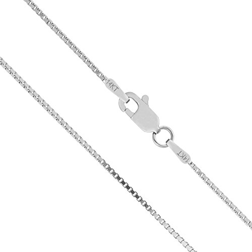 Honolulu Jewelry Company 14K Solid White Gold 1mm Box Chain Necklace - 22 Inches ()