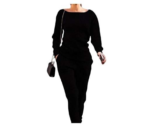 HEFASDM Womens Solid bolsos coloridos drawstring 2 Piece Set solta esporte treino Black M