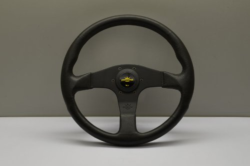 Personal Steering Wheel - Nardi Personal Steering Wheel - Blitz - 350mm (13.78 inches) - Black Polyurethane with Black Spokes - Yellow Logo Horn Button - Part # 8474.34.2001